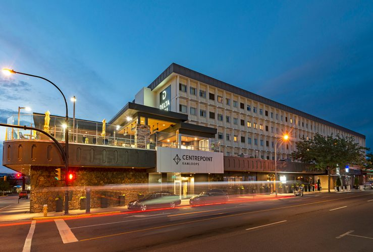 The newly re-branded Delta Hotel in Kamloops is photographed during a commercial shoot at dusk