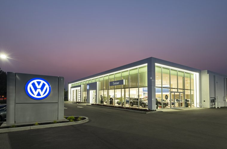 Volkswagen dealership in Kelowna, British Columbia, Canada during an architectural shoot