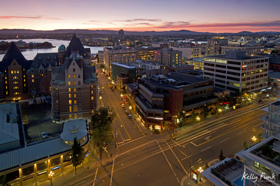 Urban shot of Victoria, British Columbia, Canada at dusk showing traffic flow