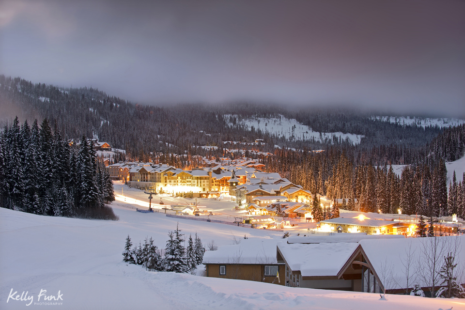Sun Peaks Resort at day break, sunrise