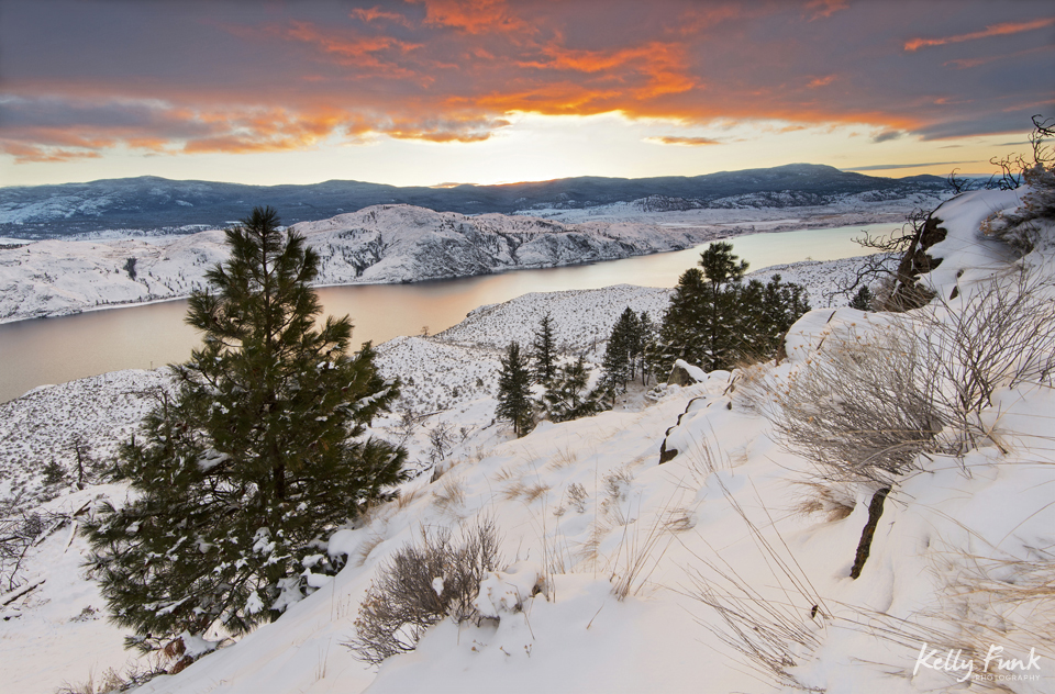 Sunset over Kamloops lake, near Kamloops, BC