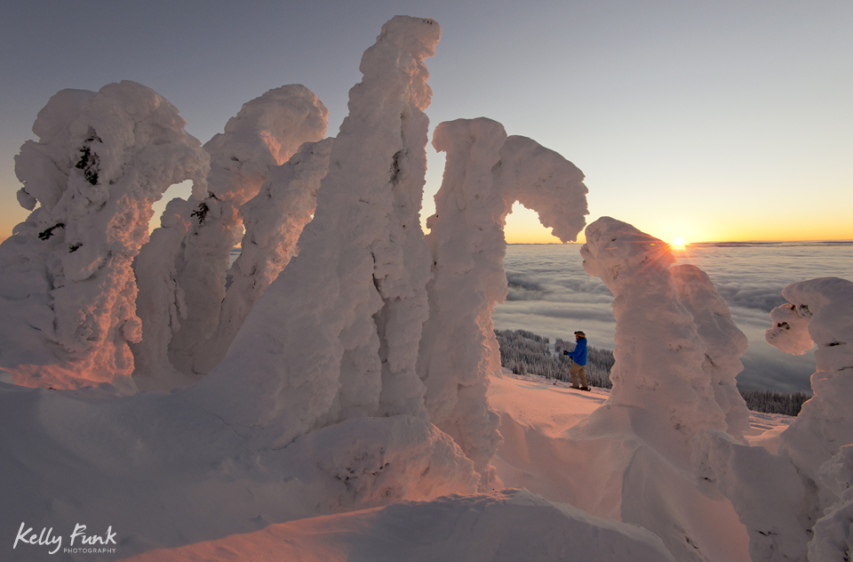 Snow ghosts at the top of Sun Peaks Resort, Thompson Okanagan region of British Columbia, Canada
