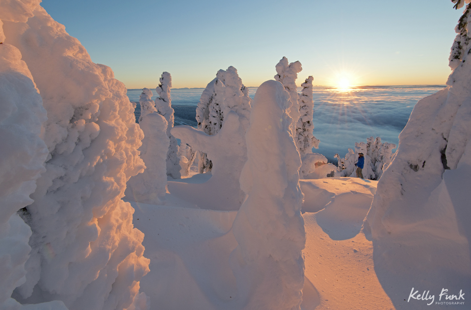 Snow ghosts create an amazing foreground and story at the top of Sun Peaks Resort, while working with Tourism Sun Peaks on a commercial/tourism photo shoot, near Kamloops, Thompson Okanagan region, British Columbia, Canada