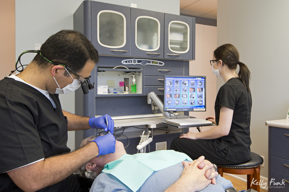 Portraits of a dentist and hygienist  at a commercial photography session at a clinic in Comox, British