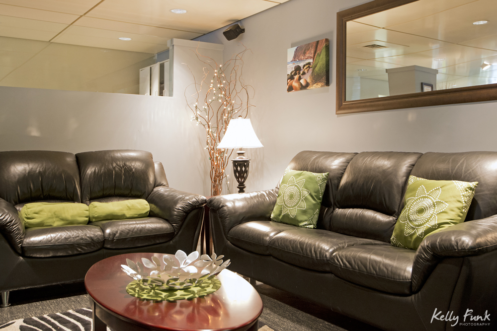Reception area of a dental clinic in Coquitlam during a commercial photography session, British Columbia, Canada
