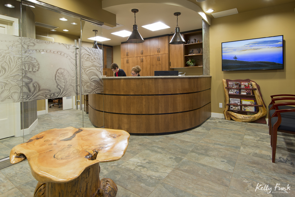 The interior of Sagehills Dental Clinic, located in Kamloops, British Columbia, Thompson Okanagan region, Canada, during a commercial photo shoot