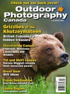 A female Grizzly bear on the cover of Outdoor Photography Canada Magazine