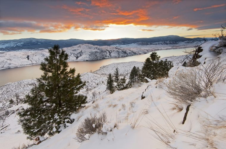 landscape of Kamloops Lake at sunset, winter, Thompson Okanagan region of BC, Canada