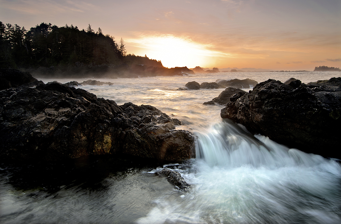 Tidal flows at sunrise near Ucluelet, British Columbia, Vancouver Island region, Canada