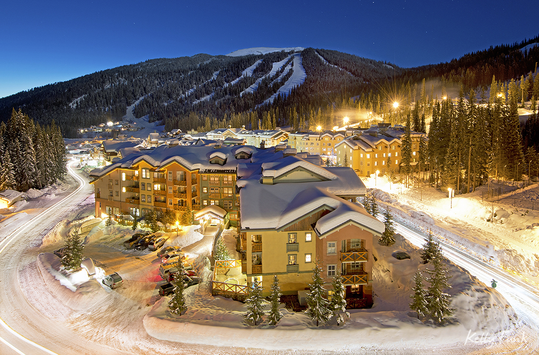The village of Sun Peaks glows during a commercial shoot for their marketing, near Kamloops, British Columbia, Canada