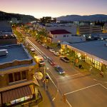 The city of Kamloops at dusk with traffic flow, Thompson Okanagan region, British Columbia, Canada