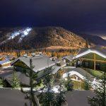 The village and architecture of Sun Peaks at night, near Kamloops, Thompson Okanagan region, British Columbia, Canada