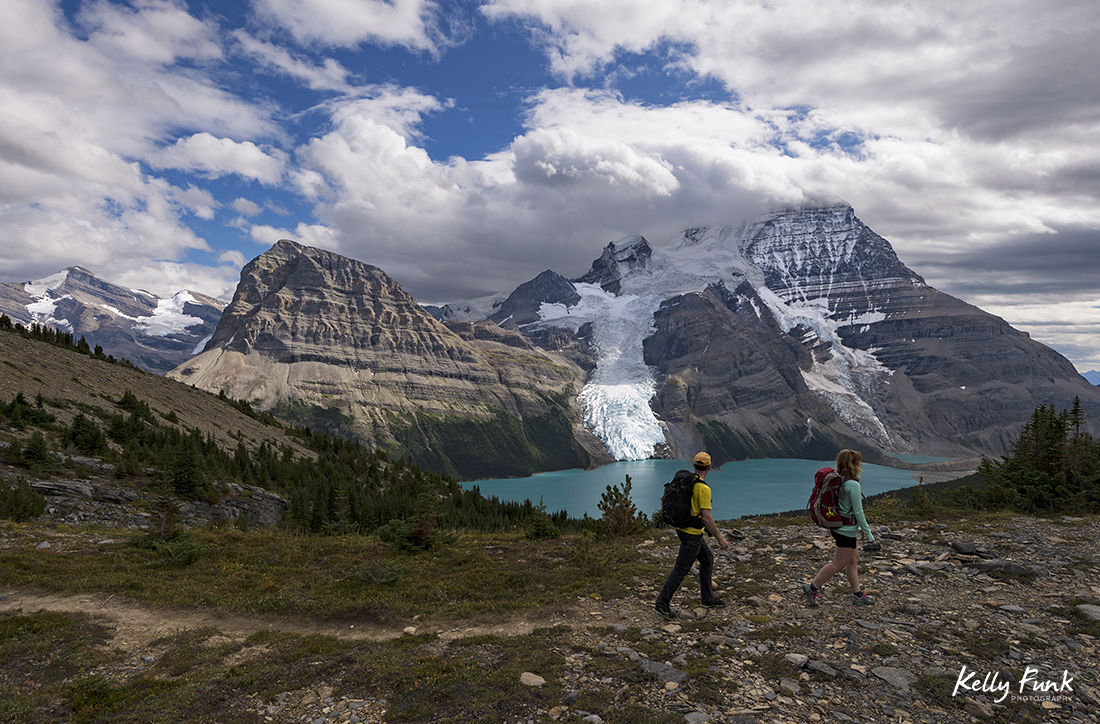 Hitting the trail in the Mumm Basin above Berg Lake, Mt. Robson, Canadian Rockies, British Columbia