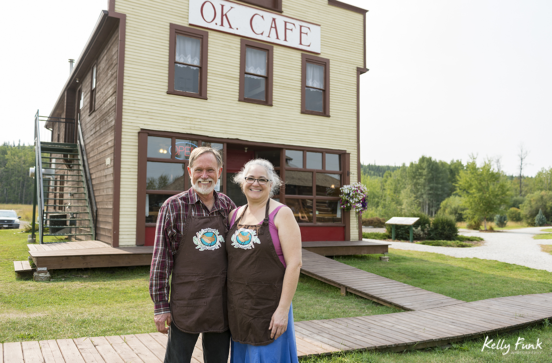 Owners of the OK cafe pose for a portrait outside their restaurant in Vanderhoof, British Columbia, Canada
