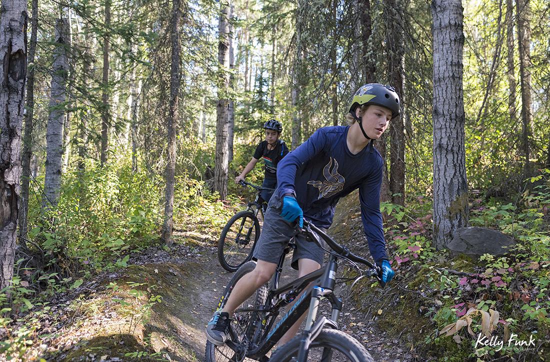 Mountain bikers in Vanderhoof, British Columbia, Canada