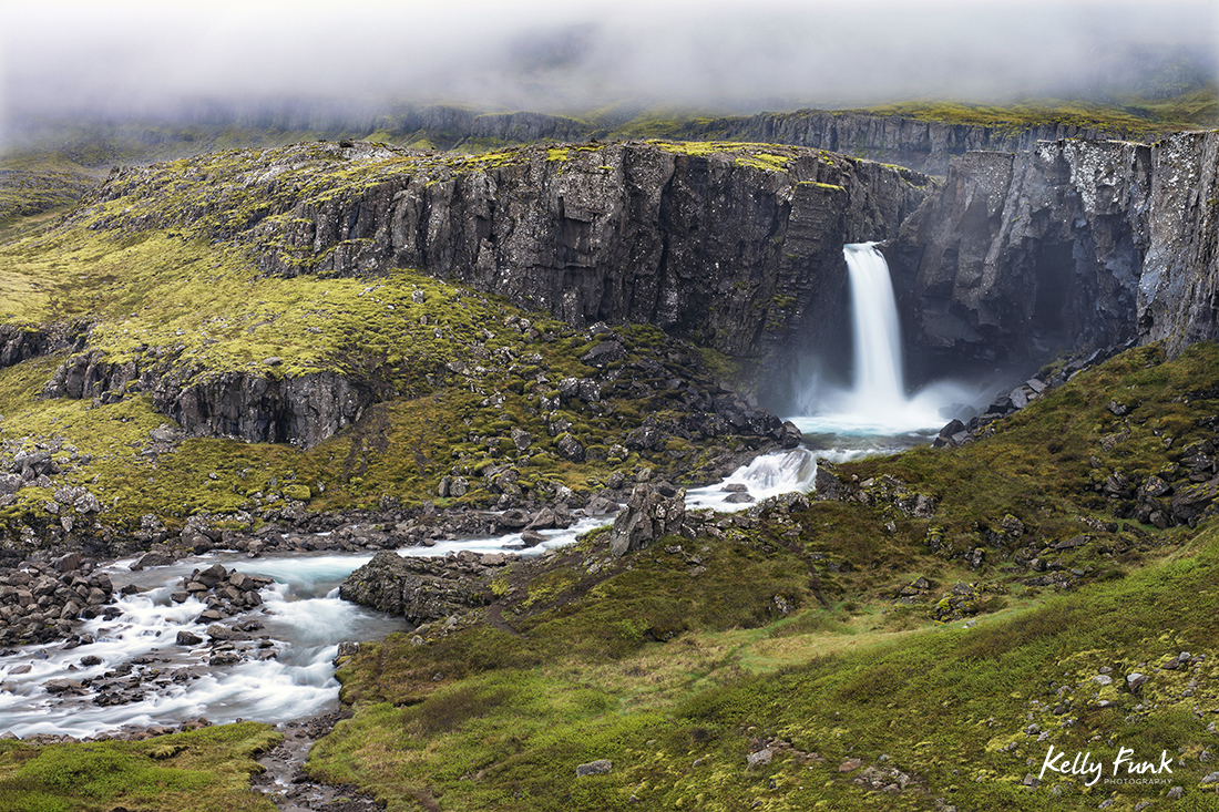 Waterfall in the north eastern highlands of Iceland, Europe