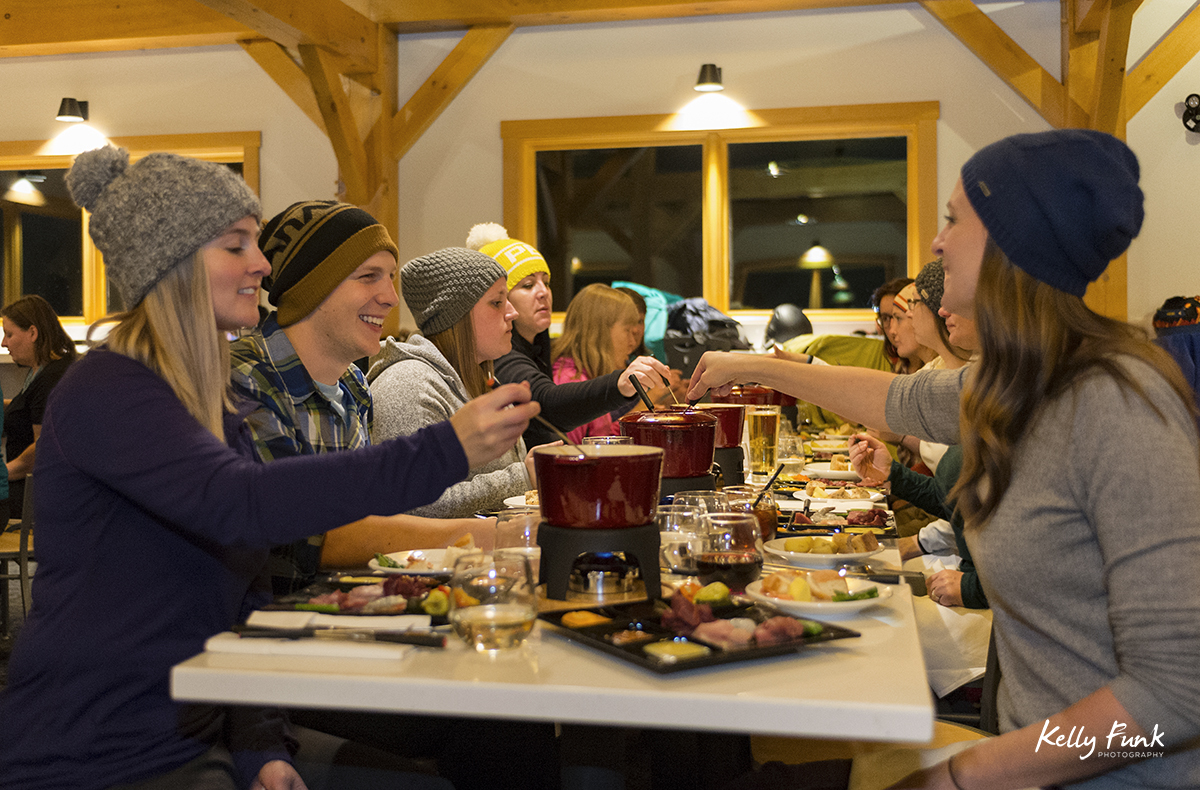 holiday kick off weekend and festivities at a fondue at mid mountain in the village, Sun Peaks Resort, near Kamloops, British Columbia, Thompson Okanagan region, Canada