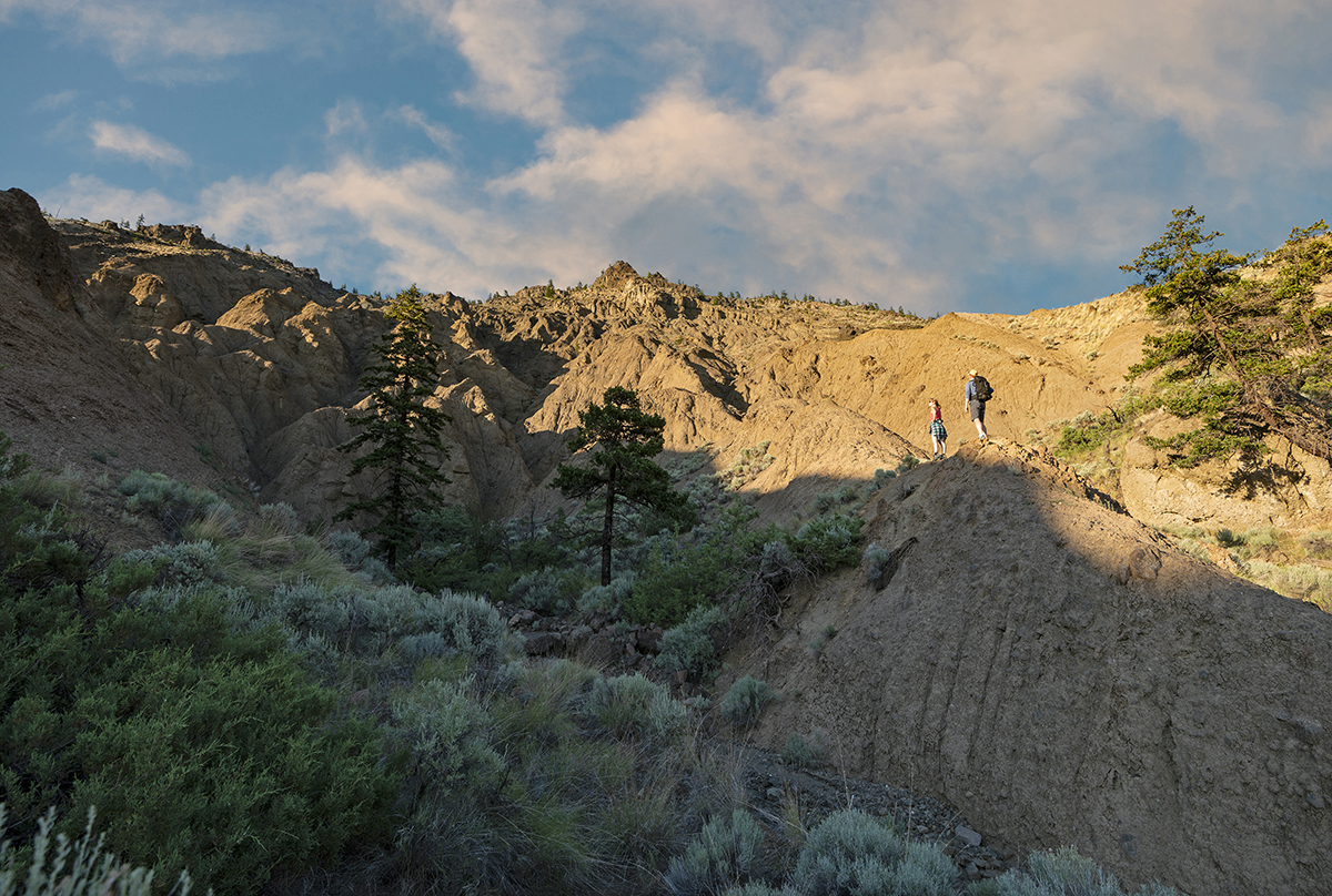 Hikers enjoying sunset in the desert region of British Columbia, Thompson Okanagan region, Canada