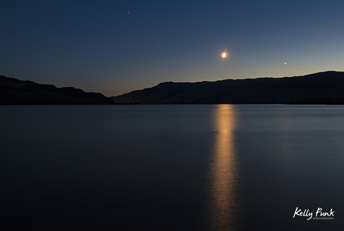 Moonset over Kamloops lake, Kamloops, British Columbia, Thompson Okanagan region, Canada