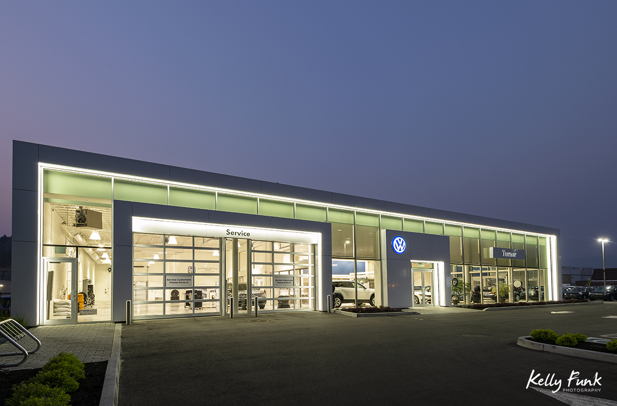 Turner Volkswagen in Kelowna, BC shot for an archtecture firm in Kelowna at dusk