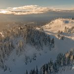 Aerial photograph in a helicopter of Tod Mountain the the Crystal chair at Sun Peaks Resort during a tourism marketing shoot, British Columbia, Thompson Okanagan region, Canada