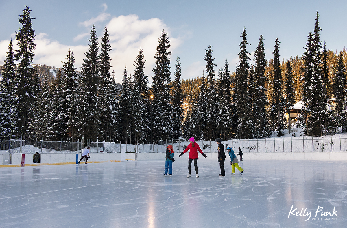 Village image of ice skating at Sun Peaks Resort during a tourism marketing shoot, British Columbia, Thompson Okanagan region, Canada