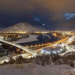 Kamloops, British Columbia, Canada cityscape after a fresh snow at dusk.