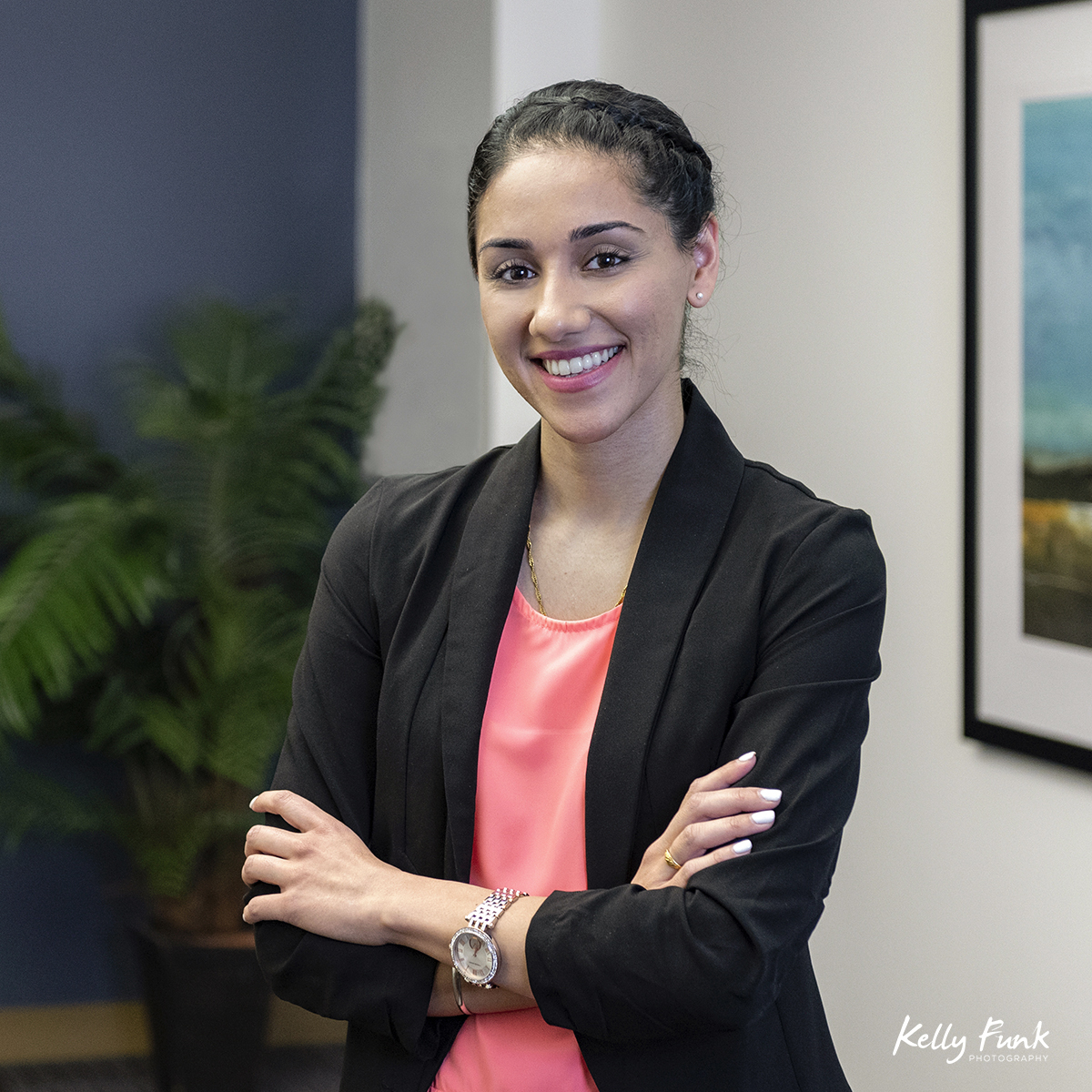 Portrait of a young woman working for RBC in Kamloops, British Columbia, Canada