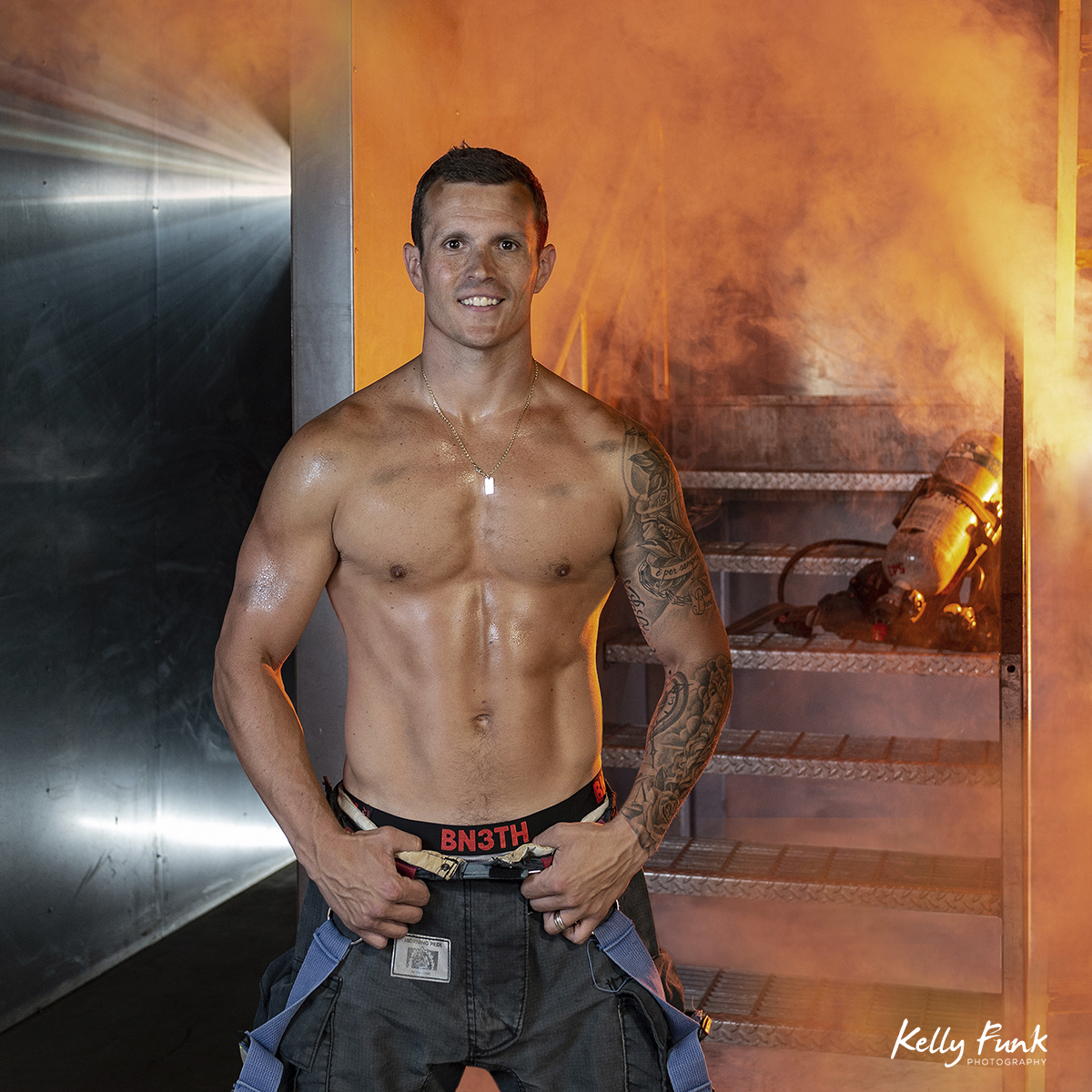 Portrait of a firefighter for a local calendar, Kamloops, British Columbia, Canada