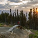 Mountain biker at sunset during a tourism shoot for Valemount, British Columbia, Canada