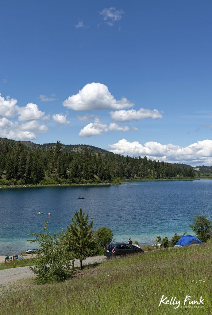 Summer kayak activity at Allyne lake, near Merritt, Thompson Nicola region, British Columbia, Canada