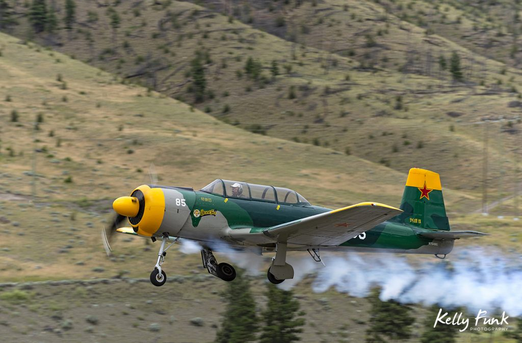 World war 2 fighter plane on display at the Merritt, British Columbia airshow, Thompson Nicola region, Canada