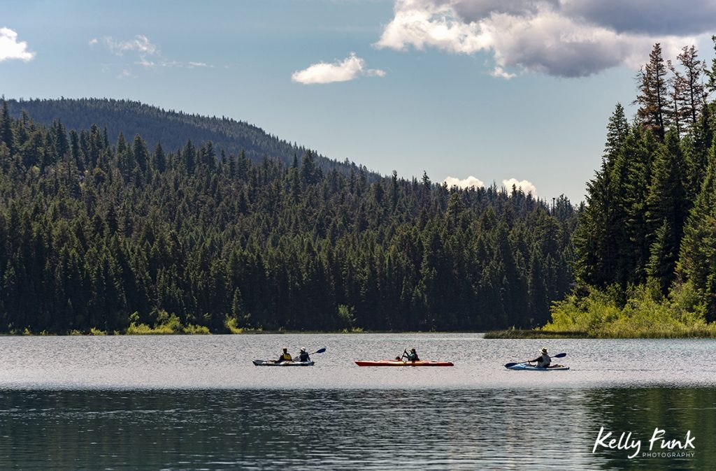 Summer kayak and lake activity at Kentucky lake, near Merritt,  Thompson Nicola region, British Columbia, Canada