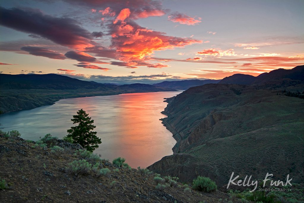 Sunset over Kamloops Lake, Lac Du Bois Grasslands near Kamloops, British Columbia, Canada