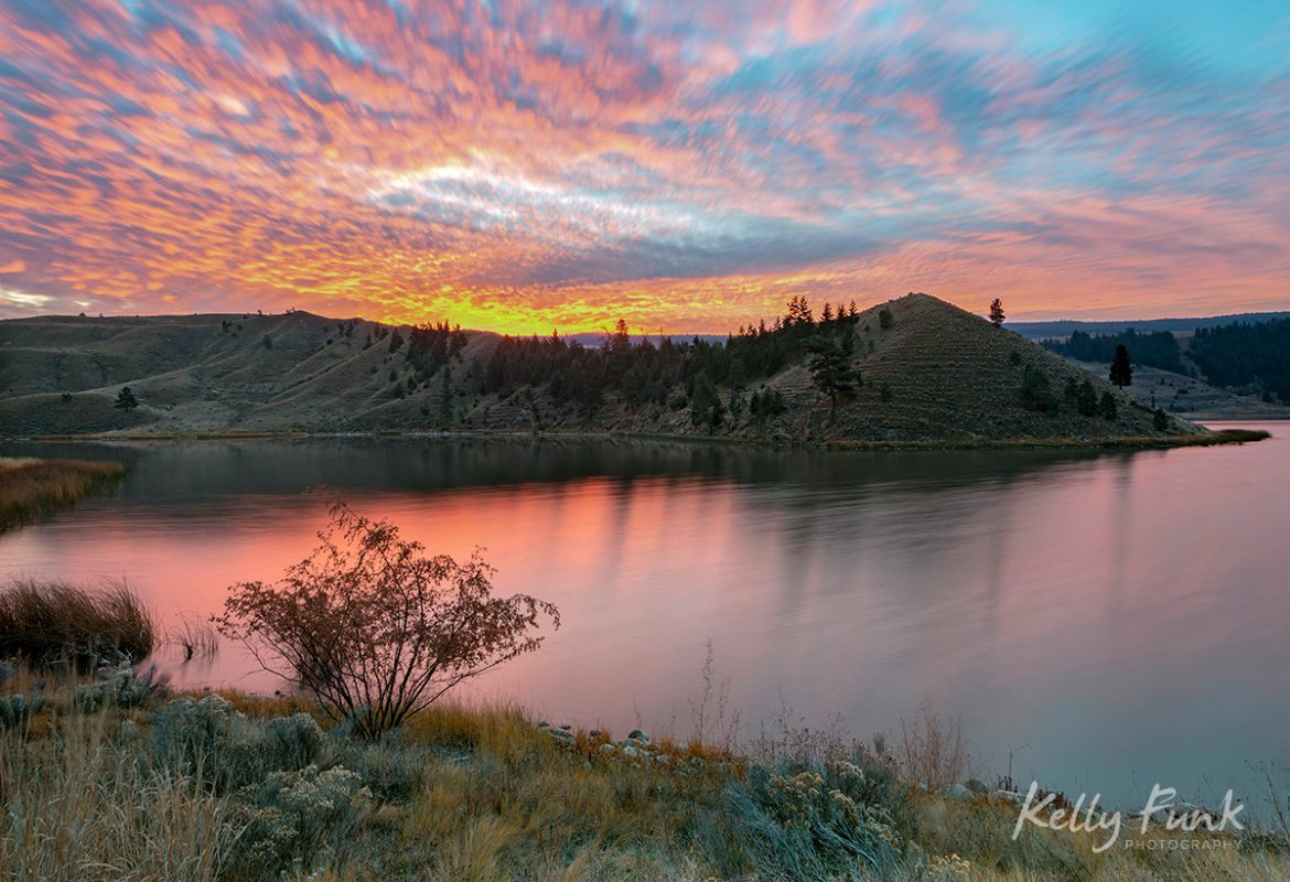 Sunrise over Trapp lake, south of kamloops, BC, Thompson okanagan region, Canada