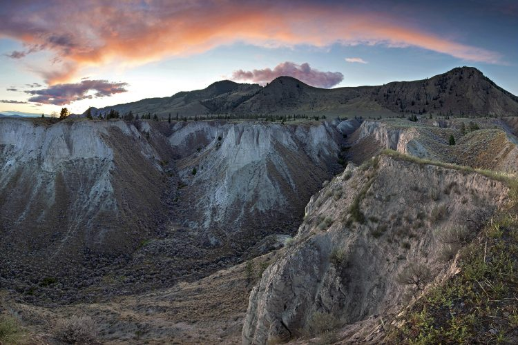 Sunset east of Kamloops in a canyon land area formed by glaciation and erosion, British Columbia, Canada