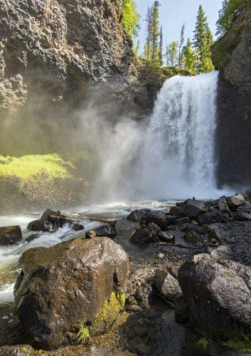 Moul Falls in Wells Gray Provincial Park on a beautiful summer day, near Clearwater, British Columbia, Thompson Okanagan region, Canada