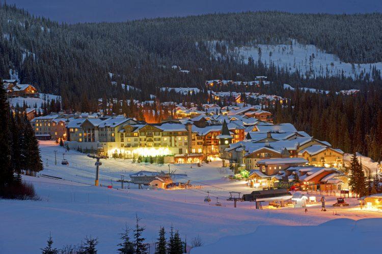 Village of Sun Peaks ski resort at dusk, Thompson Okanagan region of BC, Canada