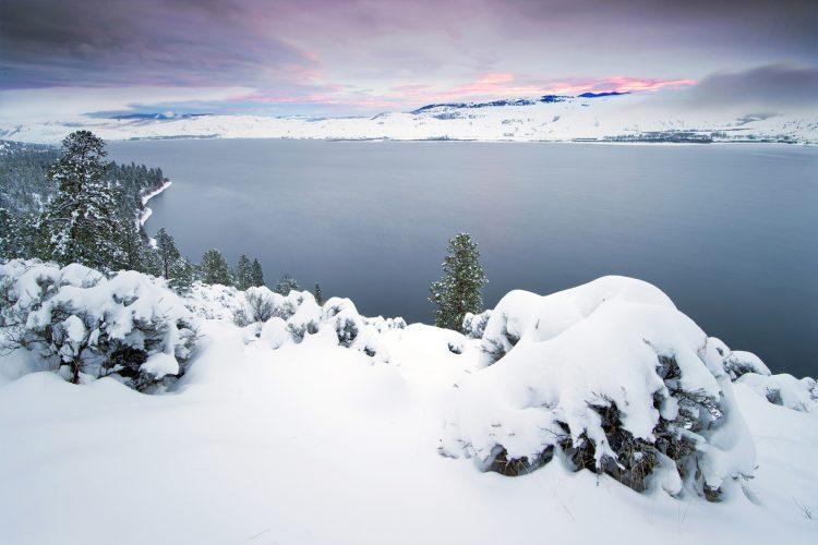 landscape of Nicola Lake at sunset, winter, Thompson Okanagan region of BC, Canada