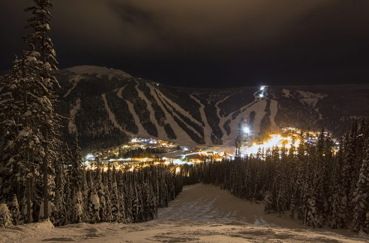 The village of Sun Peaks at night, near Kamloops, Thompson Okanagan region, British Columbia, Canada