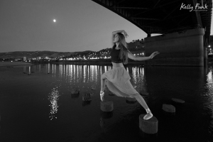 ballerina on the Thompson river, Kamloops, British Columbia, Canada, Kelly Funk, professional commercial photographer, Overlander bridge, Hailey Cretian, dancer
