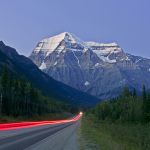 Traffic flow leads into a clear view of majestic Mount Robson, in the northern end of the Thompson Okanagan region, Valemount, British Columbia, Canada, Kelly Funk, Kamloops professional photographer
