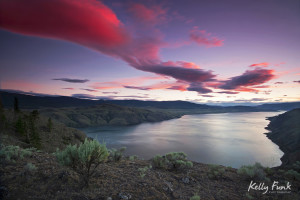 Sunset over Kamloops lake, Battle Bluffs, Kelly Funk, Kamloops photographer, commercial photographer, professional