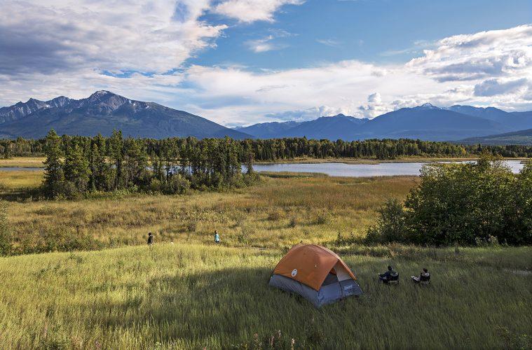 a family enjoys camping near Valemount and Canoe mountain, Thompson Okanagan region, British Columbia, Canada