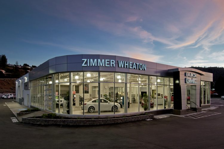 Zimmer Wheaton dealership photographed at dusk in Kamloops, British Columbia, Canada