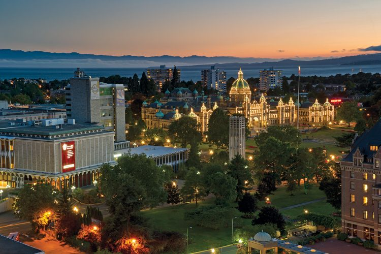 The city of Victoria and the Parliament buildings at dusk, Vancouver Coast and Mountain region, British Columbia, Canada
