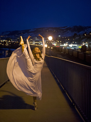 Ballerina on the Thompson River walkway, near Kamloops, British Columbia, Canada, dance, dusk, angelic, idyllic,  portrait, environment artificial lighting, Nikon Canada,