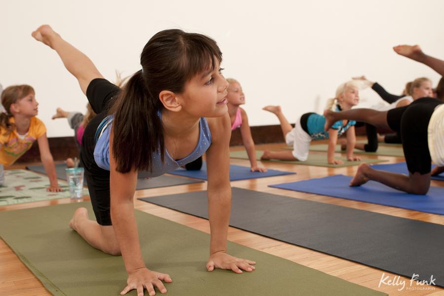 Children's yoga practise at the Yoga Loft, Kamloops, British Columbia, Canada