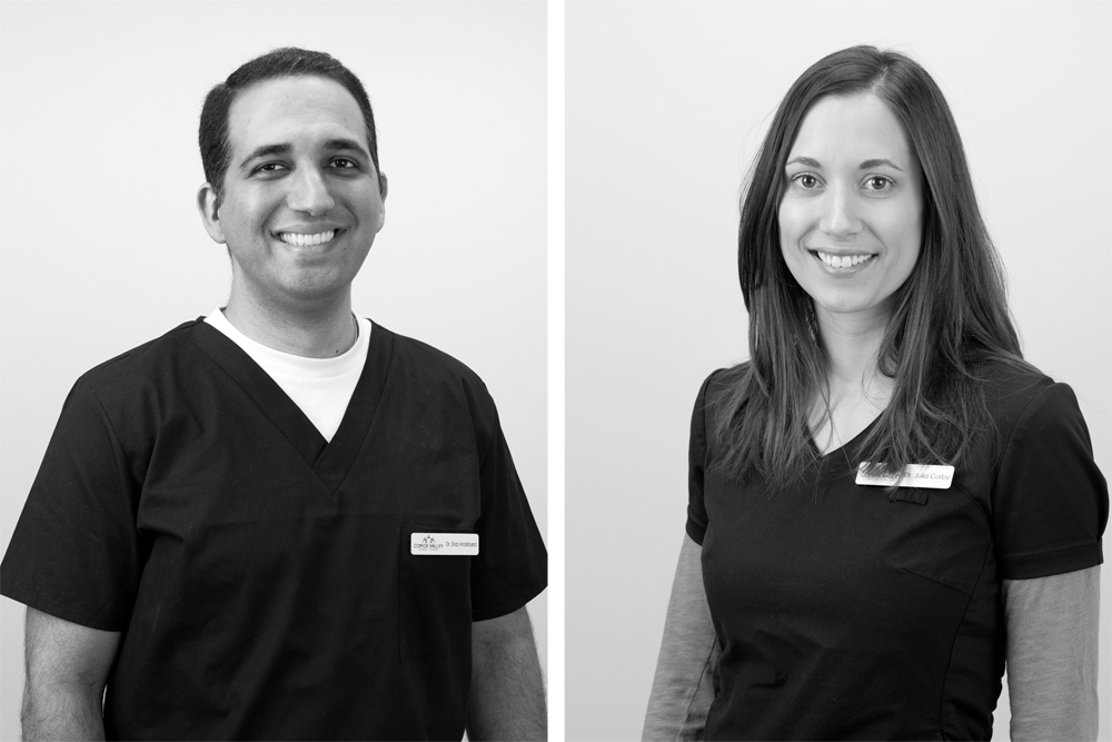 Head shots or portraits of two dentists at a commercial photography session at a clinic in Comox, British Columbia, Canada, Vancouver Island region