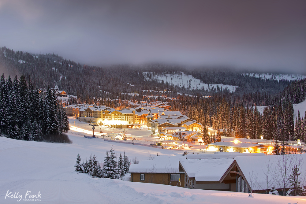 The village of Sun Peaks at day break during a commercial photo shoot, Thompson Okanagan region, British Columbia, Canada